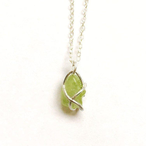 Raw Peridot Crystal Sterling Silver Necklace - designsbynaturegems