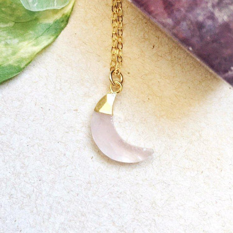 14K Gold Rose Quartz Moon Charm Necklace - designsbynaturegems