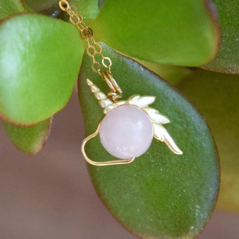 14K Gold Rose Quartz Crystal Unicorn Necklace - designsbynaturegems