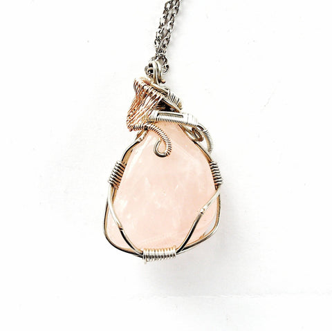 Rose Quartz Crystal Necklace - Rose Gold Bridal Necklace - designsbynaturegems