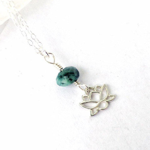 Sterling Silver Lotus Raw Emerald Crystal Necklace - May Birthstone Jewelry - designsbynaturegems