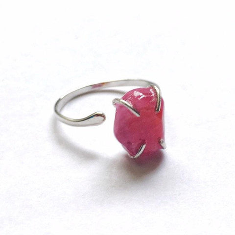 Raw Pink Ruby Crystal Ring - Sterling Silver Pink Sapphire Ring - July Birthstone - designsbynaturegems