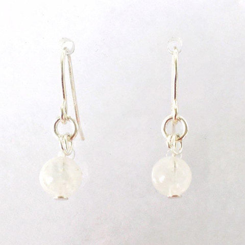 Silver Rainbow Moonstone Drop Earrings - June Birthstone - designsbynaturegems