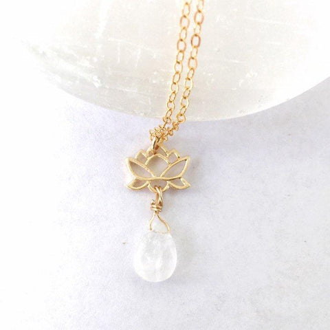 Teardrop Rainbow Moonstone Necklace - 14K Gold Lotus Pendant - June Birthstone Jewelry - designsbynaturegems
