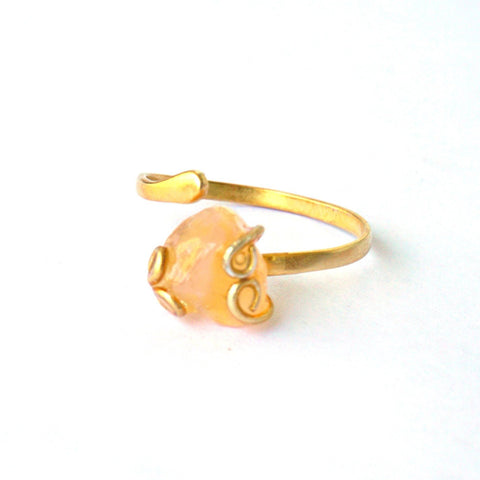 Raw Citrine Ring-November Birthstone Ring-Adjustable Wire Wrapped Ring-14k Gold-Filled Statement Ring-Stone of Abundance & Creativity