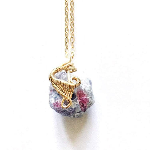 14K Gold Wire Wrapped Pink Tourmaline Necklace - October Birthstone - designsbynaturegems
