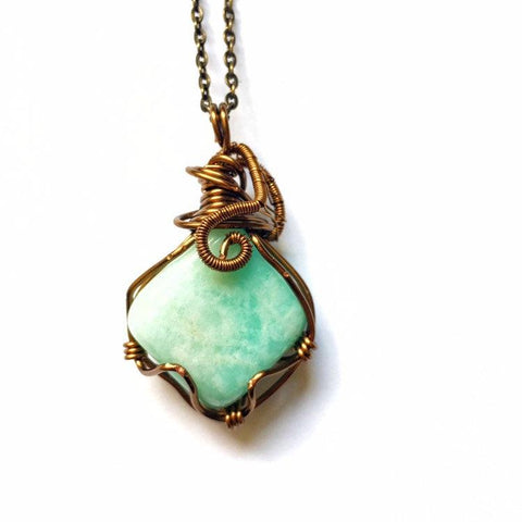 Antique Bronze Amazonite Necklace - designsbynaturegems
