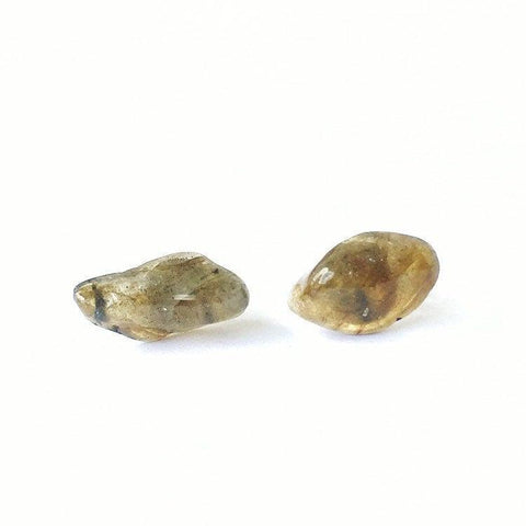 Raw Labradorite Stud Earrings - designsbynaturegems