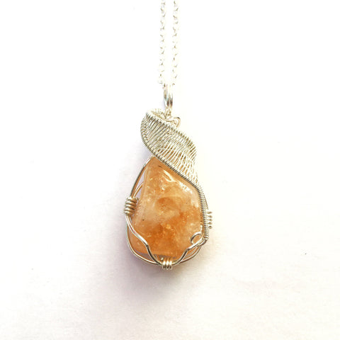 Raw Citrine Necklace- November Birthstone- Womens and Mens Crystal Necklace- Sterling Silver Wire Wrapped Pendant- Creativity & Abundance