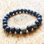 Blue Tigers Eye Bracelet- Blue Mala Crystal Bracelet-Womens & Mens Crystal Bracelet-Healing Crystal for Meditation, Intuition, and Drive