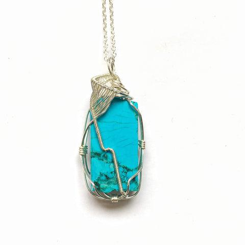 Raw Turquoise Pendant-December Birthstone Necklace-Sterling Silver Wire Wrapped Pendant-Natural Turquoise-Womens and Mens Crystal Necklace