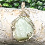 Light Green Jade Necklace-Raw Nephrite Jade Wire Wrapped Pendant-Womens and Mens Crystal Necklace-Pisces Birthstone-Calming & Dream Energy