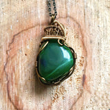 Green Jade Necklace-Raw Nephrite Jade Wire Wrapped Pendant-Womens and Mens Crystal Necklace-Pisces Birthstone-Calming & Dream Energy