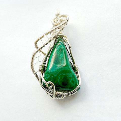 Malachite Pendant Sterling Silver Necklace - designsbynaturegems