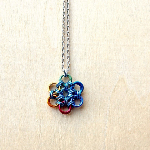 Rainbow Flower of Life Charm Necklace - Seed of Life Necklace - designsbynaturegems
