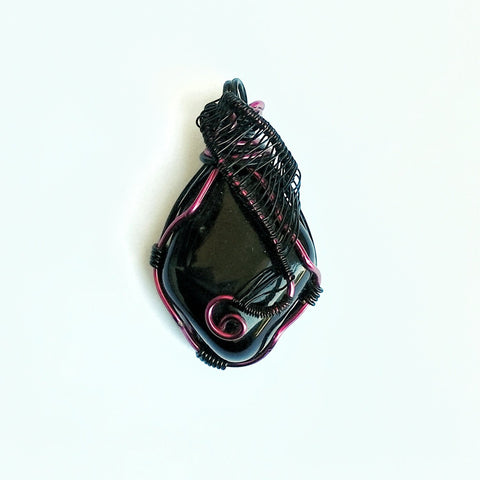Black Obsidian Necklace - Pink and Black Wire Wrapped Protection Necklace - designsbynaturegems