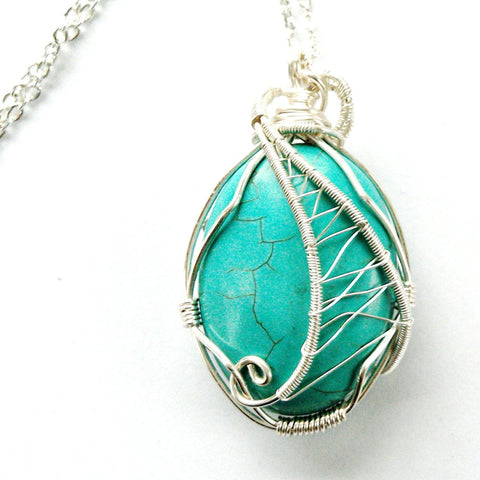 Bright Silver Wire Wrapped Turquoise Crystal Necklace - designsbynaturegems