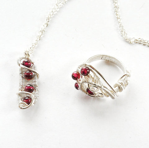 Garnet Jewellery Set - January Birthstone Necklace and Ring in Sterling Silver - designsbynaturegems