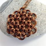 Copper Flower of Life Pendant - Meditative Necklace - designsbynaturegems
