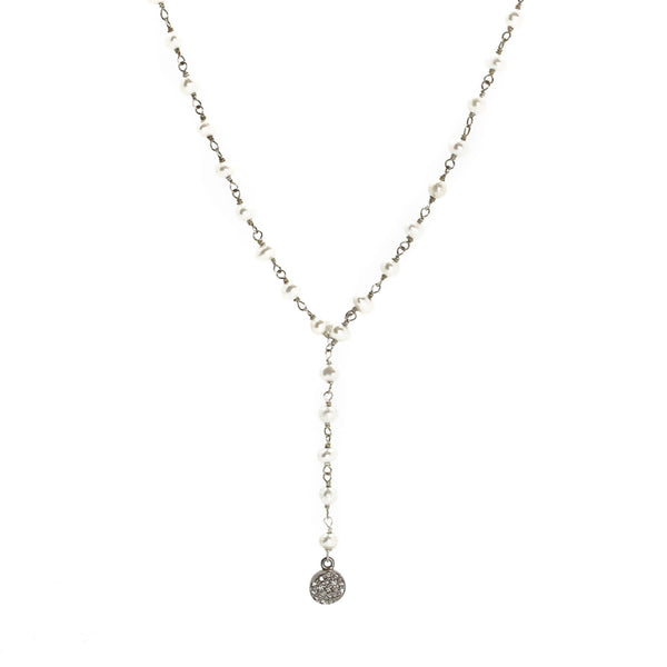 Pearl and Diamond Y Necklace