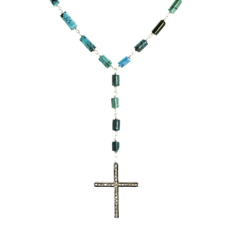 Turquoise & Diamond Cross
