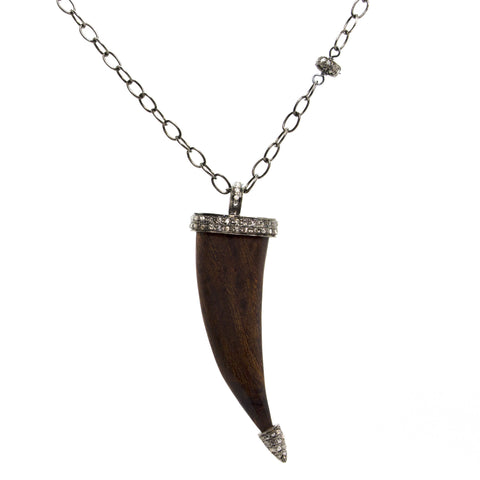 Wooden Horn with Diamond Accents