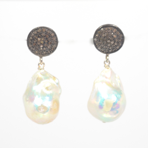 Baroque Pearl and Diamond Drops