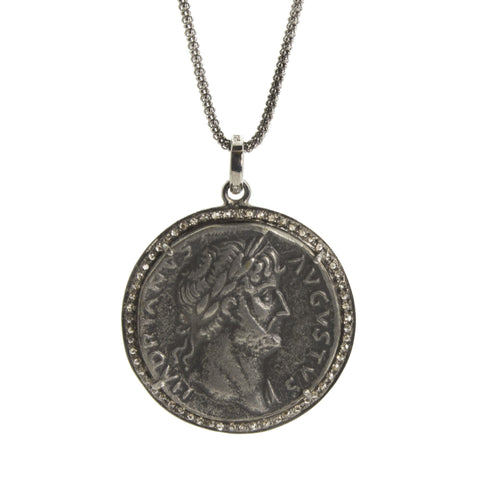 Diamond Roman Coin Pendant