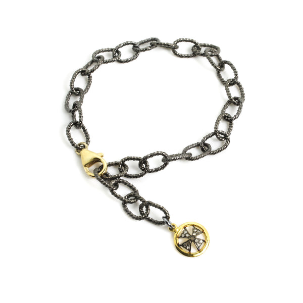 Chain Bracelet with a Diamond Cross Charm