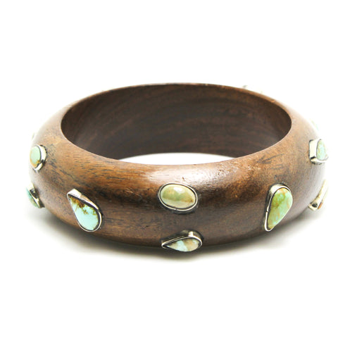 Wooden Turquoise Bangle