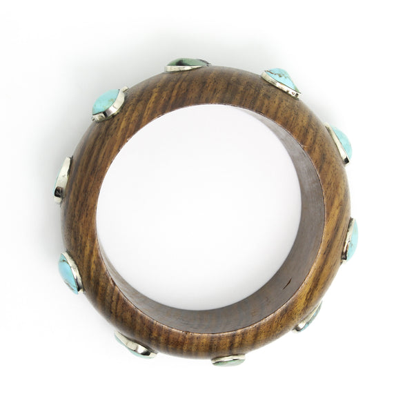 Wide Wood and Turquoise Bangle