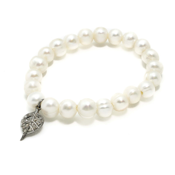 Diamond and Pearl Charm Bracelet