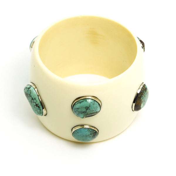 Wide Multi Turquoise Bangle