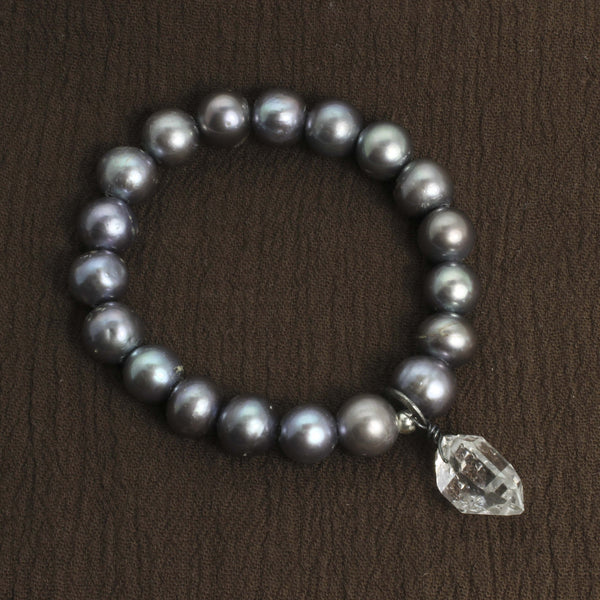 Herkimer Diamond and Pearl Charm Bracelet