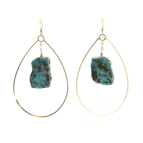 Slab Cut Turquoise Earrings
