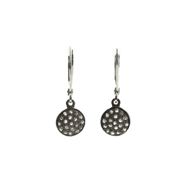 Silver Diamond Disc Earring