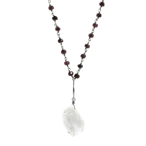 Garnet & Herkimer Diamond Necklace