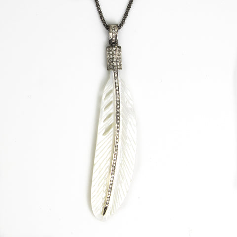 Shell Carved Feather with Diamonds