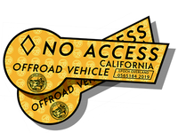 CA HOV No Access - Yellow Pair Decal Sticker