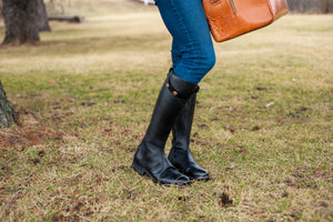 Women's black tall riding style boots.