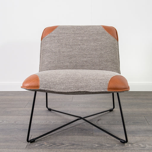 Danny Chair | Leather, Fabric Grey and cognac