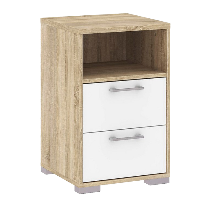 Homeline Bedside Table | Oak, White