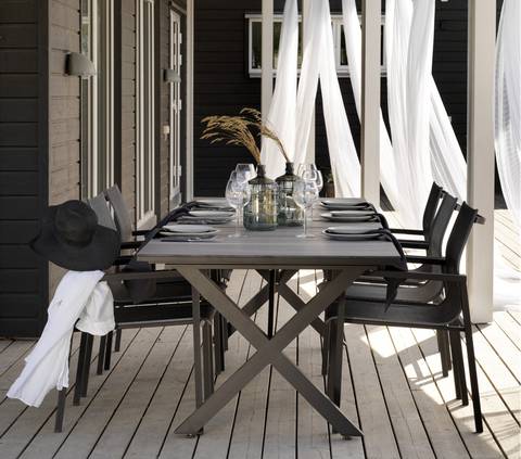 Ibiza Outdoor Dining Table | Black Natural Wood