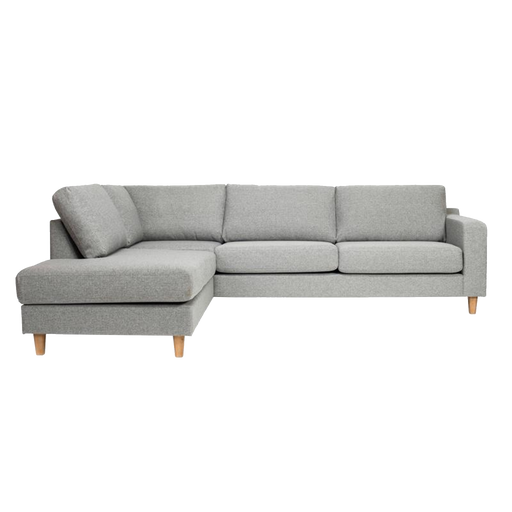 Tampa Corner Sofa Left 3 Seater | Light Grey, Oak