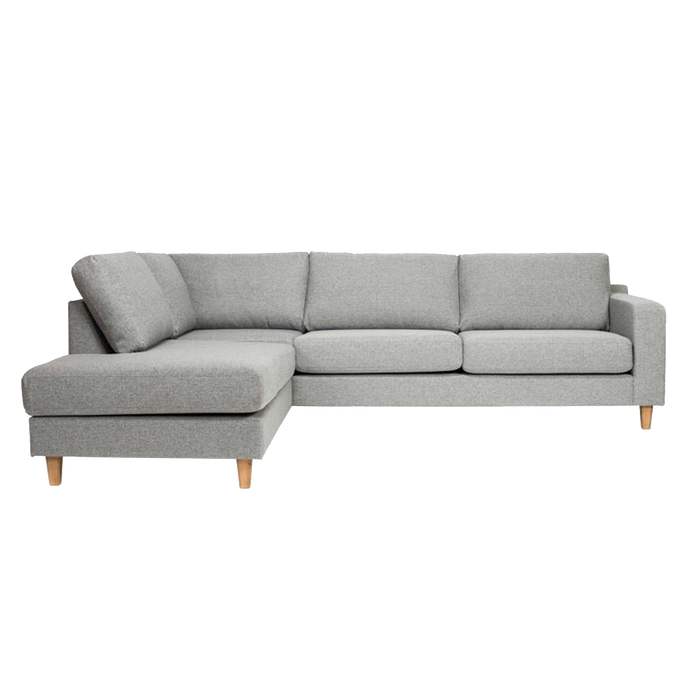 Tampa Corner Sofa Left 3 Seater | Light Grey, Chrome