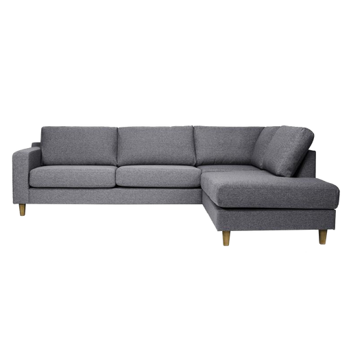 Tampa Corner Sofa Right 3 Seater | Charcoal, Oak