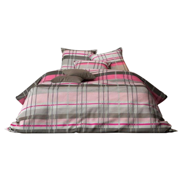 Mistral Home Duvet Cover & Pillowcase Set | Pink, Brown Plaid