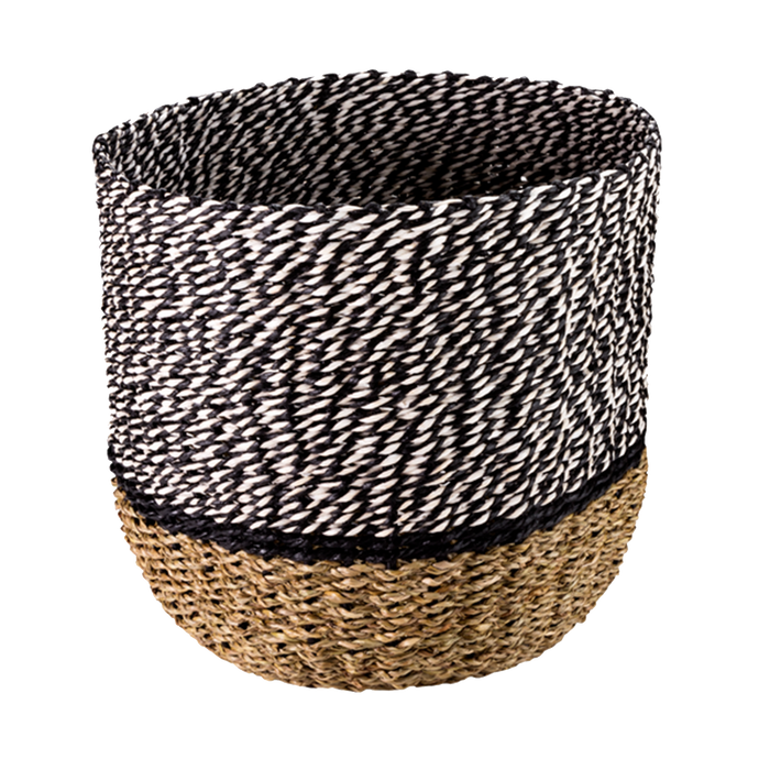 Bast Basket | Black, White, Beige