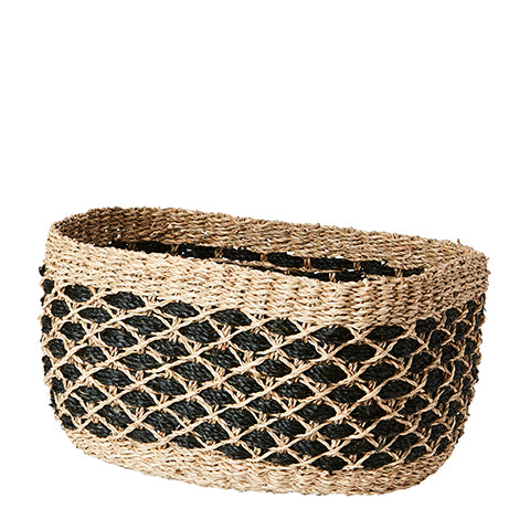 Collect Basket L | Black & Natural