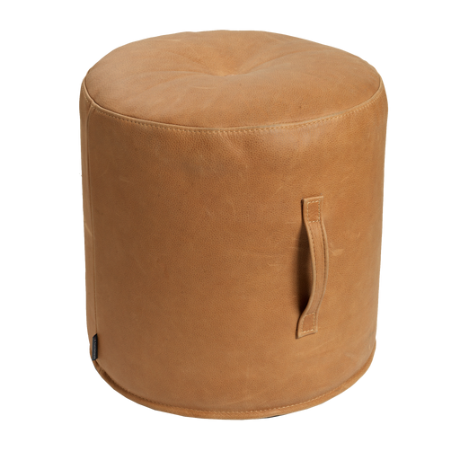 Bono Footstool with Handle | Western Cognac, Leather